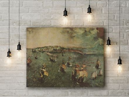 Pieter Bruegel: Naval Battle in the Gulf of Naples. Fine Art Canvas.